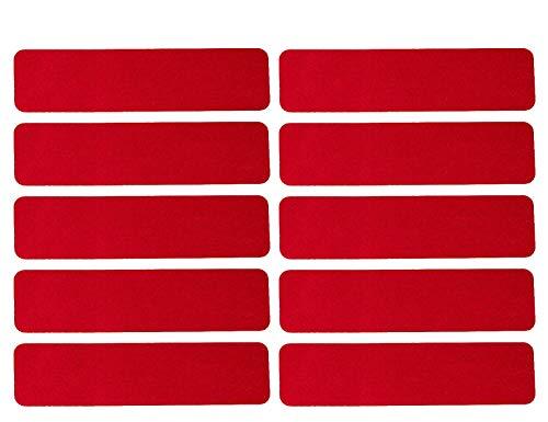 UvV 10 Stück Retroreflektierende Klasse RA1 - Sticker Aufkleber, 100 x 25 mm - mehr Sicherheit bei Dunkelheit (RA1 - rot)