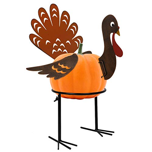 yosager Turkey Pumpkin Making Kit, Colorful Metal Thanksgiving DIY Pumpkin with Stand, Poke into Pumpkin, Thanksgiving Decoration for Autumn Fall Thanksgiving Harvest Home Decor