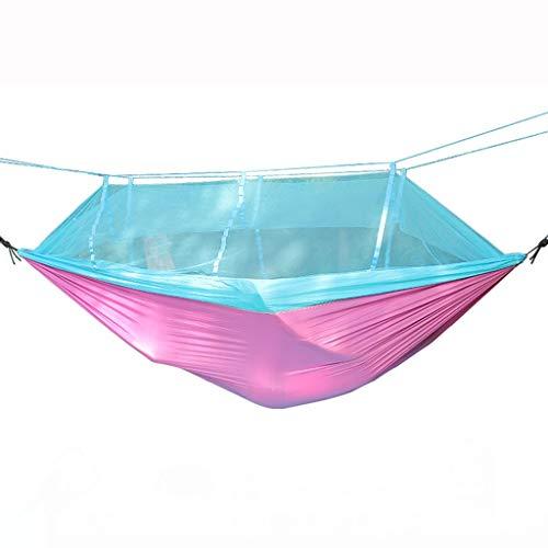 KOREY Ultranatura Hamaca,Hamaca Portátil De Nylon con Doble Refuerzo,Camping, Excursión,Hamaca Ultraligera para Camping,Ideal para Dormir Al Aire Libre,Azul, Verde, Rosa (Color : Pink)