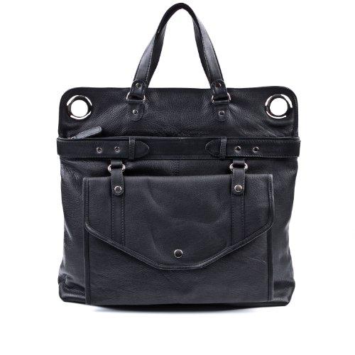 BACCINI luiertas echt leer Wendy XL grote baby-tas schoudertas leren tas dames zwart