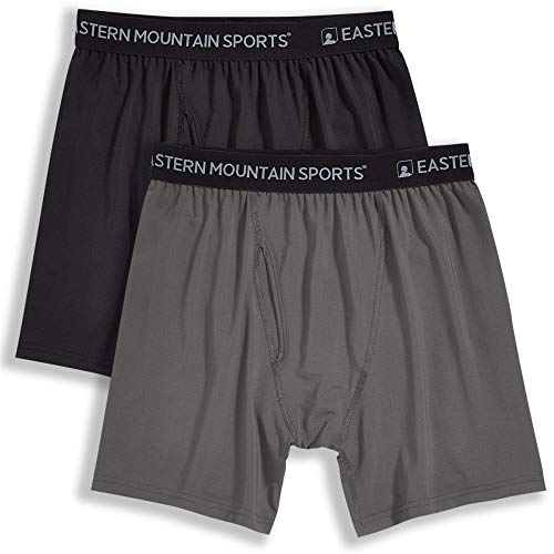 Eastern Mountain Sports Men's Techwick Boxer Briefs, 2-Pack Pewter/Black M
