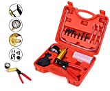 2 in 1 Brake Bleeder Kit Hand held Vacuum Pump Test Set,for Automotive with Sponge Protected Case,Adapters,One-Man Brake and Clutch Bleeding System,Vacuum Gauge and Brake Bleeder Kit (Red Case)