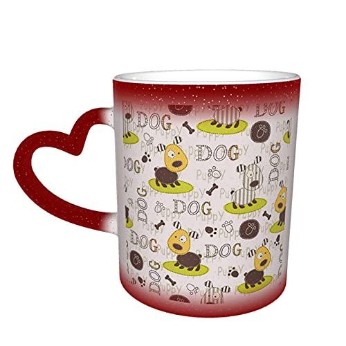 Motivo a zampa di cane Tazza che cambia calore Novità Divertente Ceramica Magia sensibile al calore Tazza da caffè che cambia colore Tazza da tè al latte Regali creativi per compleanno e Natale Rosso