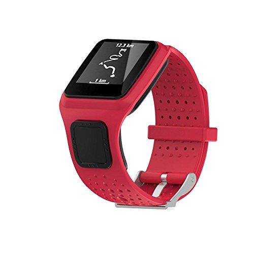 Kobwa TomTom Correa de reloj de silicona de repuesto para TomTom Runer/TomTom Runner Cardio/TomTom Multi-Sport GPS HRM y más Smartwatch, color rojo