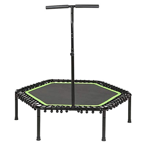 JHUEN Mini trampolín de Ejercicio de 53 ″ para Adultos o niños, Fitness Rebounder Trampoline with T-Handlebar |Tranquilo y Seguro Rebote trampolín, MAX.Carga 330 LBS en Verde