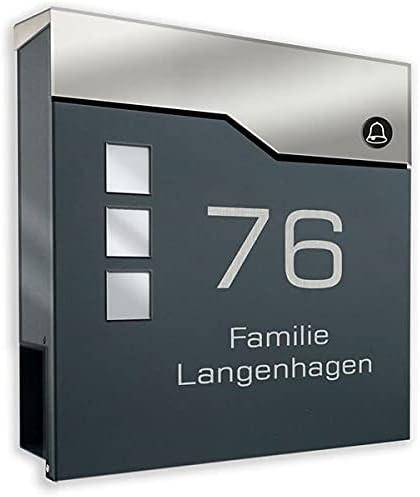 Design-Briefkasten aus pulverbeschichtetem Stahl ANTHRAZIT RAL 7016 mit FUNKKLINGEL und Beschriftung (mit Zeitungsrolle und 3 Sichtfeldern)