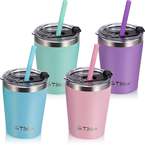 Kids & Toddler Cup - 4 Pack 8 OZ Stainless Steel Water Bottle Spill Proof Insulated Tumbler with Leak Proof Lid & Silicone Straw with Stopper - BPA FREE Vacuum Smoothie Cup Stackable Baby Drinking Cup