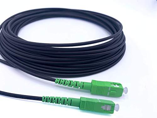 Elfcam - Cable de fibra óptica de acero apantallado, apto para instalaciones exteriores e interiores, compatible con Orange SFR Bouygues, SC/APC a SC/APC Monomodo 70M