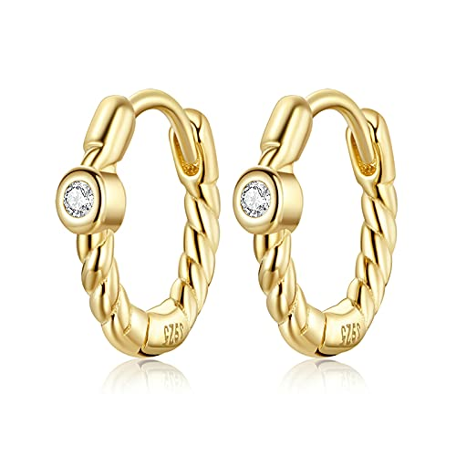 HMMJ Women's Hoop Earrings, 925 Sterling Silver Hypoallergenic Real Gold Plated French Elegant Simple Twist Geometry Earcuffs Piercings Jewellery