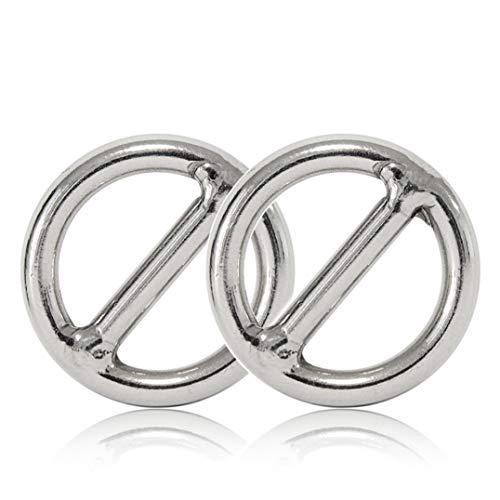 Ganzoo O - Ring mit Steg aus Stahl, 2er Set, DIY Hunde-Leine/Hunde-Halsband, nichtrostend, Steg-Ring ideal mit Paracord 550, geschweißt, Farbe: Silber