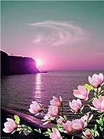 Diyのデジタル油絵子供大人初心者油絵数字キットによる絵画塗り絵 大人手塗り - 紫の日差し