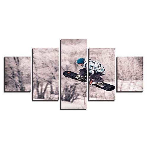 Rkmaster Canvas Muurschilderingen modulair landschap modieus schilderij decoratie 5 snowboard moderne muurkunst afbeelding goedkoop frame poster woonkamer decoratie vliesstoffen