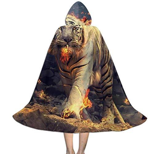 Capa para nios con Capucha The Walking Burning White Tiger Capa con Capucha de Halloween de Cuerpo Entero Capa de fantasa de Navidad Disfraces para nios nias