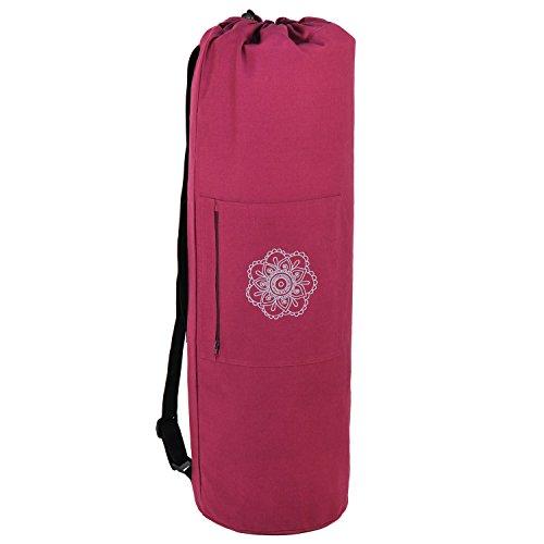 SURYA BAG COTTON Yogatasche groß, (nicht nur) für Schurwollmatten, 100% Baumwolle, aubergine, XL-Format für Yogamatten mit 60cm, 75cm, oder 90cm Breite, extra big