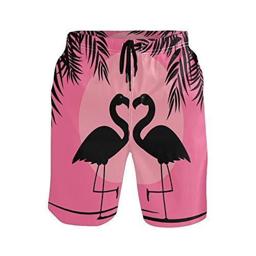 Ahomy Pantalones cortos de secado rápido para hombre, diseño de flamenco, color rosa, con hojas de palma, luna llena, con forro de malla