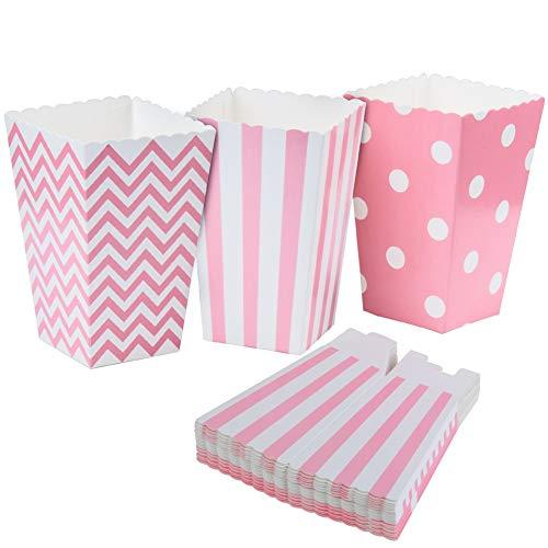 ED-Lumos Juego de 36 pcs Cajas de Palomitas cartón envase de Papel contenedores para Palomitas Galletas Patatas Fritas Forma Lunares Rayas Línea Ondulada Color Rosa