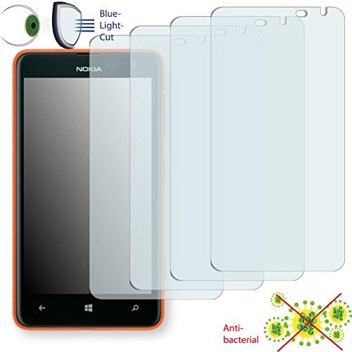 DISAGU 4 x ClearScreen Displayschutzfolie für Nokia Lumia 625 LTE Anti-bakteriell, BlueLightCut Filter Schutzfolie