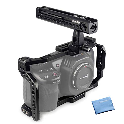 MAGICRIG BMPCC 4K / 6K Cage with Cold Shoe Mount, NATO Rail, Rotating NATO Handle for Blackmagic Design Pocket Cinema Camera 4K / 6K