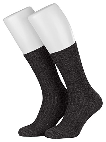 Piarini 6 Paar Norwegersocken Herren ohne Gummibund venenfreundlich Arbeitssocken Frotteesohle robust Wolle warme Wintersocken Schafwolle anthrazit 39 40 41 42