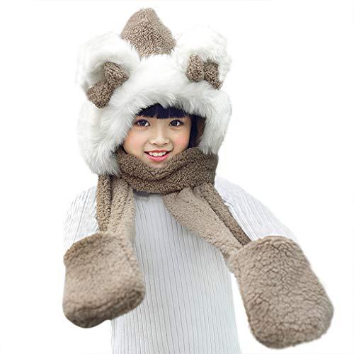 YJZQ Kinder Winter Fellmütze Kapuzenschal Plüsch Tiermütze Handschuhe 3 in 1 Nackenwärmer Warm Schal Weihnachten Geschenk für 3-8 Jahre alte Jungen Mädchen