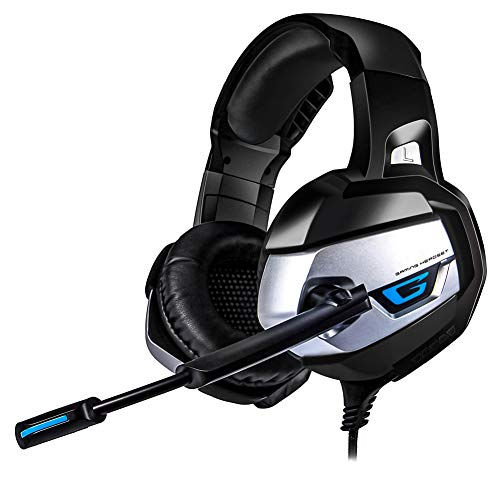 IOIOA Montado en la Cabeza Gaming Headset, Deep Bass Stereo Juego de Auriculares con micrófono de luz LED Auricular Atado con Alambre para el Ordenador portátil PS4 Xbox,B