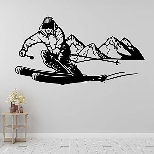 Jsnzff Pegatinas de Pared de esquí decoración del hogar Pegatinas de Pared decoración de la habitación de jardín de Infantes calcomanías de Arte de Pared a Prueba de Agua 56x104cm
