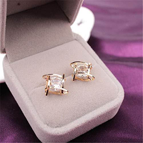 ZYYXB Pendientes pequeños de plata de ley para mujer, con cuentas románticas, pendientes de perlas coreanas, pendientes de hoja de flor, pendientes de tuerca de oro