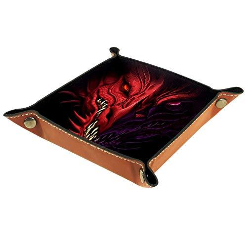 KAIXINJIUHAO Caja de almacenamiento con diseño de dragón rojo negro, llaves, reloj, organizador de mesita de noche, caja de almacenamiento de escritorio, 20,5 x 20,5 cm