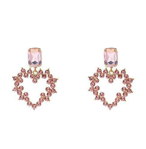 MXHJD Pendientes colgantes de color púrpura para mujer, corazón de cristal, diseño grande, colgante de lujo, diamantes de imitación, pendientes colgantes, joyería, regalos