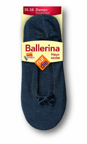 Nur Die Damen Socken 496847/Da Ballerina Haussocke, Gr. 35-38, blau (jeans 171)