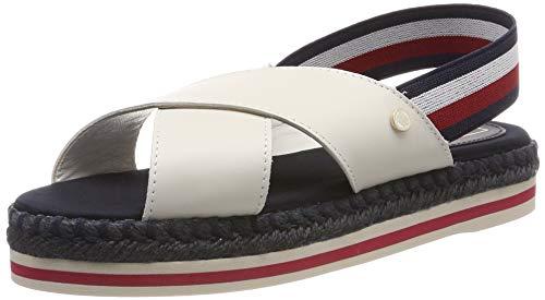 Tommy Hilfiger Colorful Rope Flat Sandal, Chanclas Mujer, Blanco (Whisper White 121), 40 EU