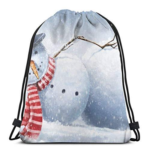 BXBX Kordelzug Rucksack Taschen Weihnachten Schneemann Sport Gym String Storage Sackpack