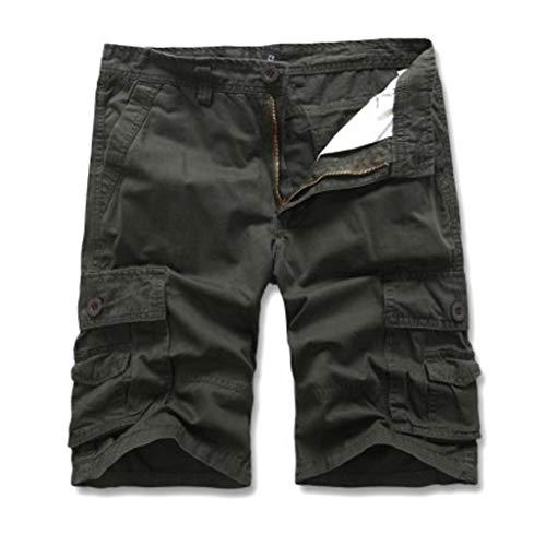 Cargo Hose Männer Kurz Shorts GreatestPAK Herren Einfarbig Cargo-Shorts Knopf Pocket Arbeitshorts Mode,Dunkelgrün,EU:XL(Tag:36)