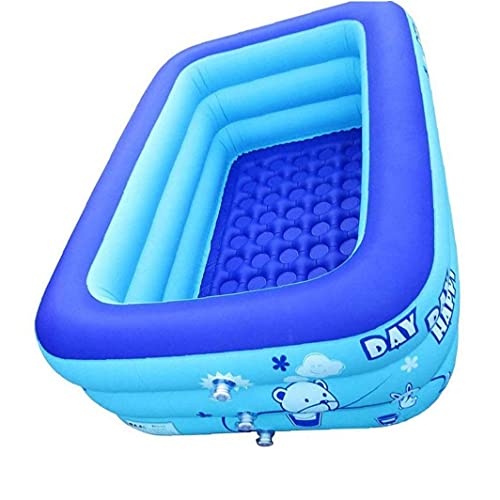 Aiyrchin Family Rectangular Inflatable Pool Inflatable Kiddie Pool Baby Pools Swim for Kids Inflatable Pool for Kiddie, Kids Easy Set Swimming Pool for Backyard Summer Outdoor 120x80x50cm