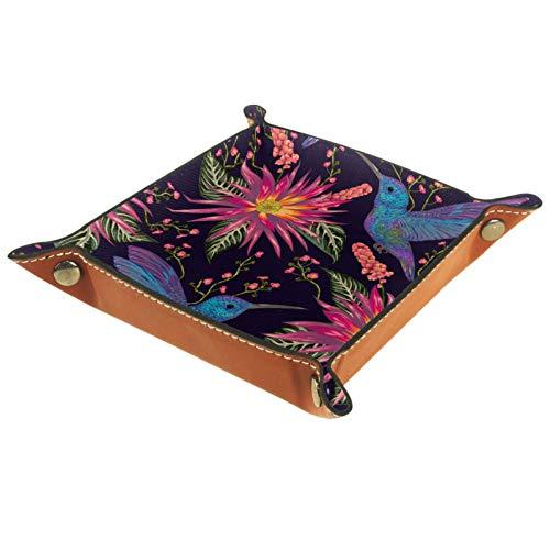 YATELI Kleine Aufbewahrungsbox,Herren-Valet-Tablett,Kolibri Tropische rote Blumen,Leder Catchall Organizer für Coin Box Key Schmuck