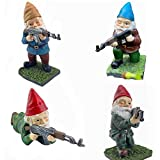 Funny Army Garden Gnome Statue Sculpture with Gun(AK47), Resin Desktop Ornament, Combat Gnome Enthusiasts, Gun Lovers, Military Gnomes Garden Decoration Figurines for Outdoor Patio Lawn Yard Décor