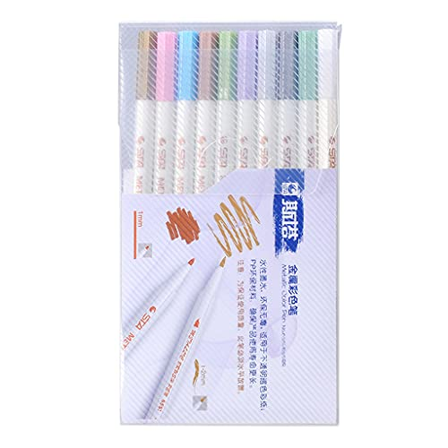 Desconocido Generic 10 Colors Epoxy Resin Metallic Permanent Marker Outline Pearlescent Drawing Pens