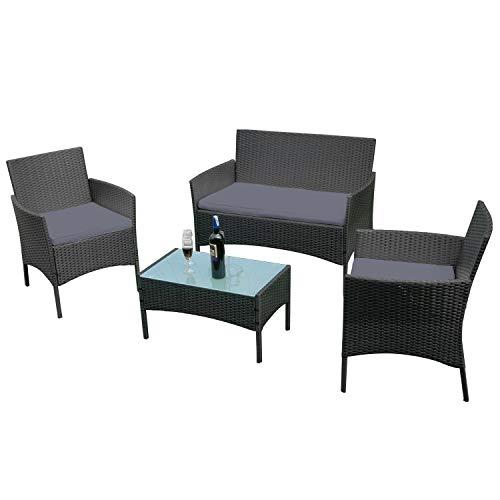 LZQ Poly Rattan Balkonmöbel Sitzgruppe Lounge Terrassenmöbel BalkonmöbelSet Mit 2-er Sofa, Singlestühle, Tisch und Anthrazit Sitzkissen