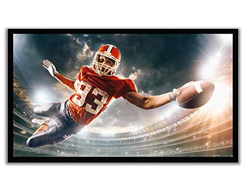"""Delux Screens (US Based Business) 110 inch 4K/8K Ultra HDR UHD Projector Screen - Active 3D Ready - 6 Piece Fixed Frame Projection Screen PVC Matte White Velvet Border 110"""", 16:9"""