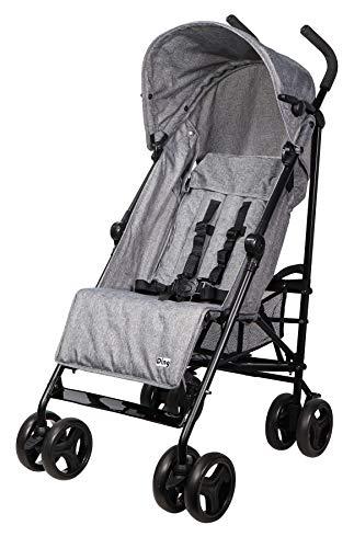 Ding GoGo Kinderwagen, Reisebuggy, Buggy mit Liegeposition, zusammen faltbar, mit Sonnenschutz und Einkaufskorb, ab 6 Monaten, grau