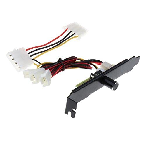 MagiDeal PCI Bracket für PWM Lüfter Geschwindigkeitsregler W / OFF Schalter PC 3 Kanäle 3 Pin Lüftersteuerung Eingangsspannung 12V