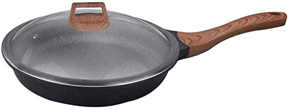 Flat-Bottomed Wok, Household pan, uncoated Non-Stick pan with Handle and Glass lid, Environmentally Friendly and Durable F...