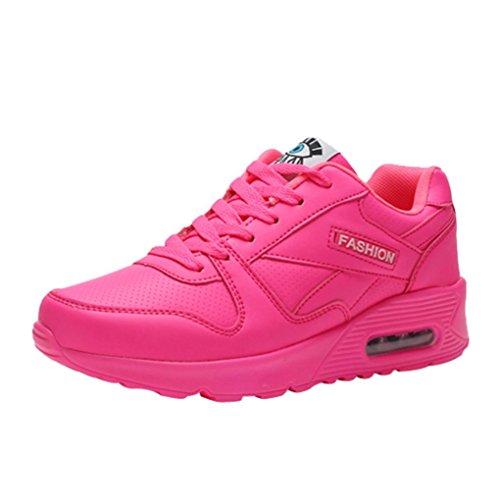 Zarupeng Mode Damen Sneaker Freizeitschuhe Outdoor Sportschuhe Lace Up Flache rutschfest Schuhe Profilsohle Sneakers Gymnastikschuhe (38 EU, Hot Pink)