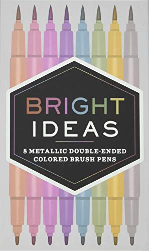 Bright Ideas Metallic Double-Ended Colored Brush Pens: 8 Colored Pens: (Dual Brush Pens, Brush Pens for Lettering, Brush Pens with Dual Tips)