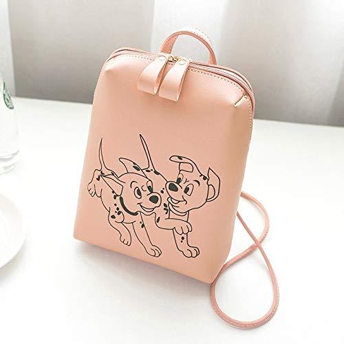 Xfhwyp Dames Simple Gedrukt Leuke Hond Pattern Laptop schoudertas Backpack Lightweight Folding Backpack Waterproof Nylon Portable Lady Handtas (Color : Pink)