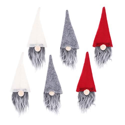 UPKOCH 6 Stücke Mini Weihnachtsmütze Weihnachten Weinflasche Abdeckung Cover Filz Weihnachtsmann Flaschen Kleidung Flaschenüberzug Flaschendeko für Abendessen Bankett Tischdeko