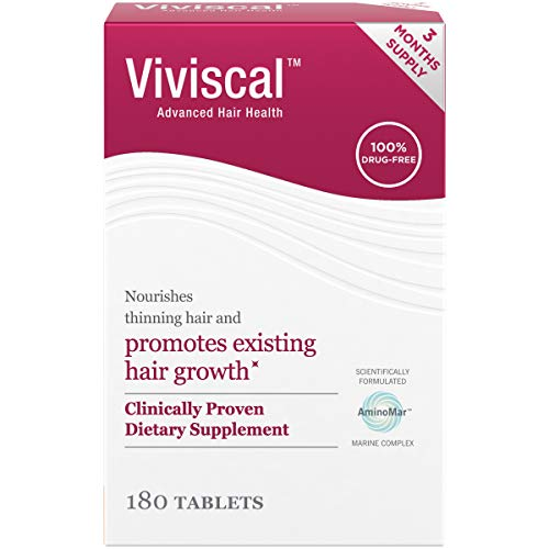 Viviscal Women's Hair Growth Supplements with Proprietary Collagen Complex, No. 1 Selling for Clinically Proven Results of Thicker, Fuller Hair[6]; Nourish Thinning Hair (180 Tablets - 3 Month Supply)