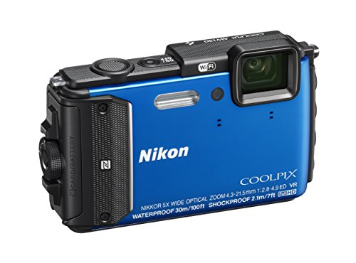 "Nikon Coolpix AW130 Fotocamera Digitale Compatta, 16 MP, Zoom 5X, 6400 ISO, Display OLED da 3"", Full HD, Subacquea, Blu [Nital card: 4 anni di garanzia]"