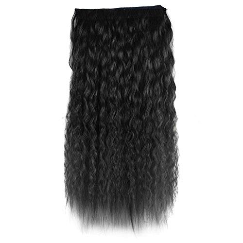 Clip Tête Bouclée Femmes Ondulées D'extension de Cheveux Synthétiques,60cm,Noir