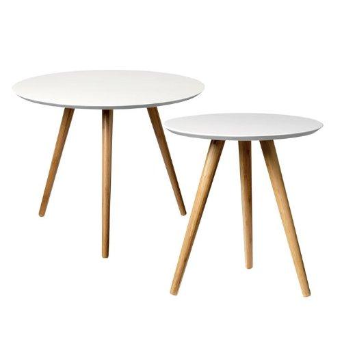 Bloomingville Tables Basses Bambou Blanc, Ensemble de 2